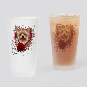 Valentines - Key to My Heart Yorkie Drinking Glass