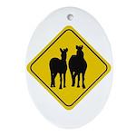 Zebra Crossing Sign Oval Ornament