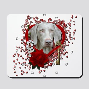 Valentines - Key to My Heart Weimie Mousepad