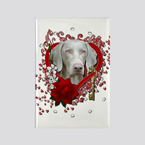 Valentines - Key to My Heart Weimie Rectangle Magn