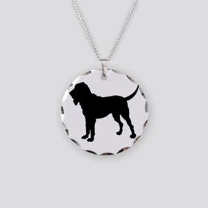 Bloodhound Silhouette Necklace Circle Charm