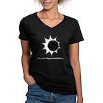 The World Ends... Women's V-Neck Dark T-Shirt