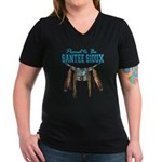 Proud to be Santee Sioux Women's V-Neck Dark T-Shi