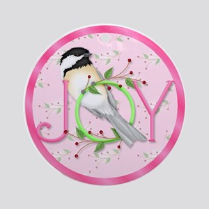 Joy Chickadee Ornament (Round)
