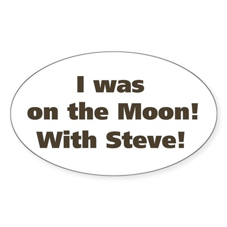 Moon with Steve Oval Sticker