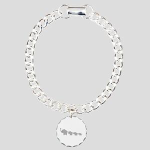 Elephants Design Charm Bracelet, One Charm
