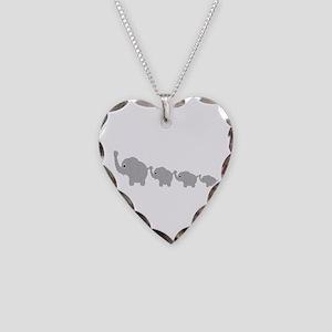 Elephants Design Necklace Heart Charm
