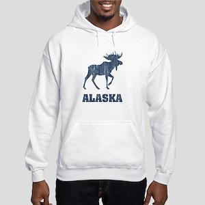 Retro Alaska Moose Hooded Sweatshirt