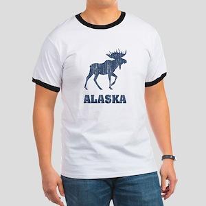 Retro Alaska Moose Ringer T