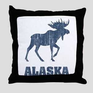 Retro Alaska Moose Throw Pillow