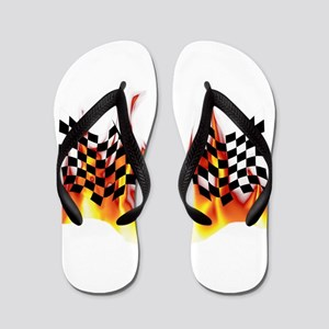 Racing Flag Fire 1 Flip Flops