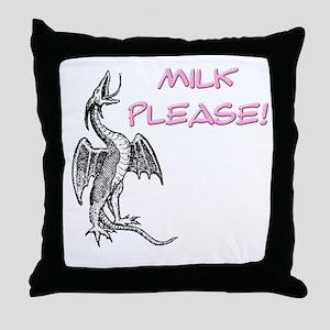 Milk Please! in Pink Throw Pillow
