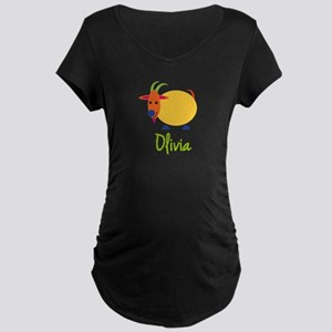 Olivia The Capricorn Goat Maternity Dark T-Shirt