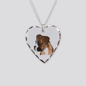 Boxer Dog Necklace Heart Charm