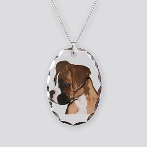 Boxer Dog Necklace Oval Charm
