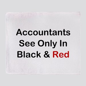 Accountants See Black & Red Throw Blanket