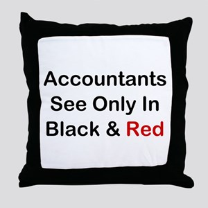 Accountants See Black & Red Throw Pillow