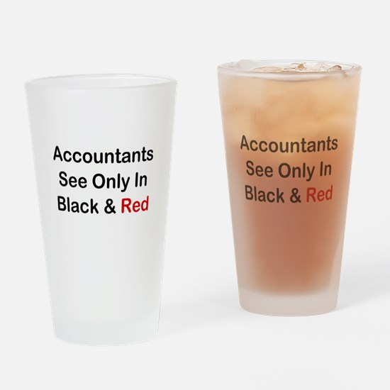 Accountants See Black & Red Drinking Glass