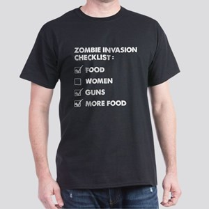 Zombie Invasion Checklist Dark T-Shirt