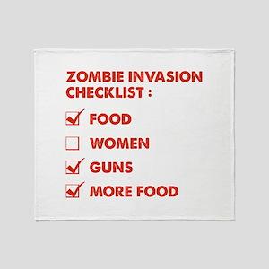 Zombie Invasion Checklist Throw Blanket