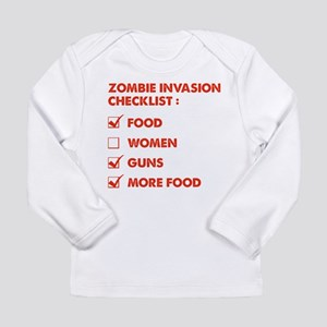 Zombie Invasion Checklist Long Sleeve Infant T-Shi