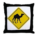 Camel Crossing Sign Throw Pillow