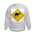 Camel Crossing Sign Kids Sweatshirt