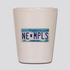 NE Minneapolis License Plate Shot Glass