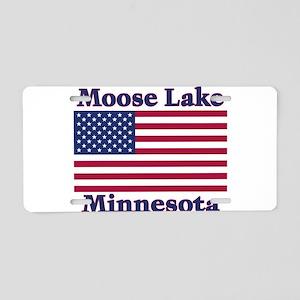 Moose Lake US Flag Aluminum License Plate