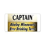 Akeley Beer Drinking Team Aluminum License Plate