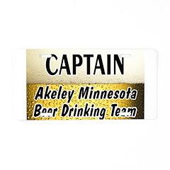 Akeley Beer Drinking Team Aluminum License Plate