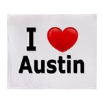 I Love Austin Throw Blanket
