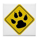 Cat Crossing Sign Tile Coaster