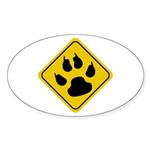 Cat Crossing Sign Oval Sticker