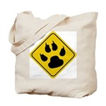 Cat Crossing Sign Tote Bag