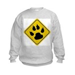 Cat Crossing Sign Kids Sweatshirt