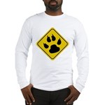 Cat Crossing Sign Long Sleeve T-Shirt