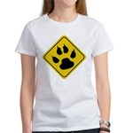 Cat Crossing Sign Women's T-Shirt