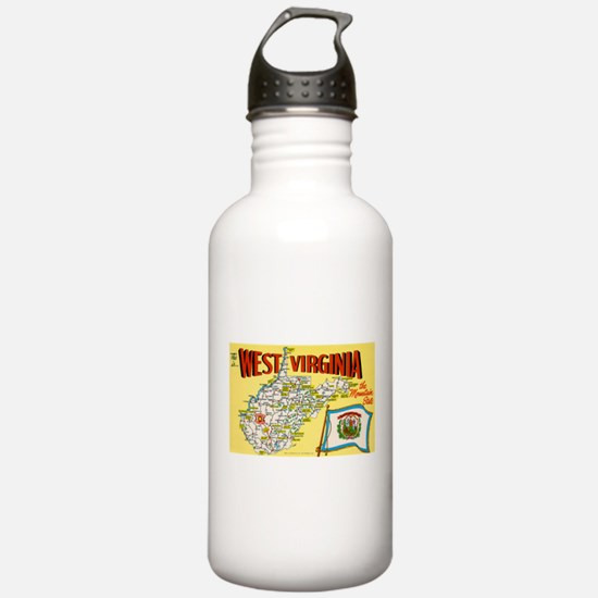 1950's West Virginia Map Water Bottle