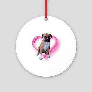 Love Boxer Puppy Ornament (Round)