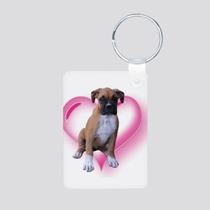 Love Boxer Puppy Aluminum Photo Keychain