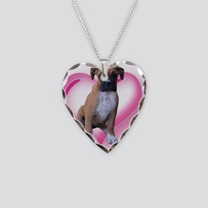 Love Boxer Puppy Necklace Heart Charm