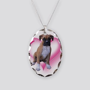 Love Boxer Puppy Necklace Oval Charm