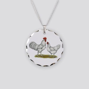 Austra White Chickens Necklace Circle Charm