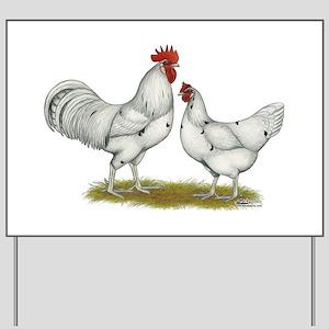 Austra White Chickens Yard Sign