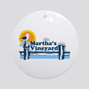 Martha's Vineyard MA - Pier Design. Ornament (Roun