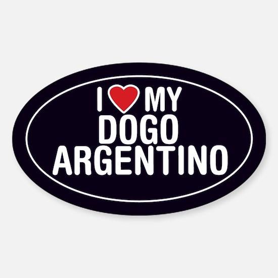 I Love My Dogo Argentino Oval Sticker/Decal