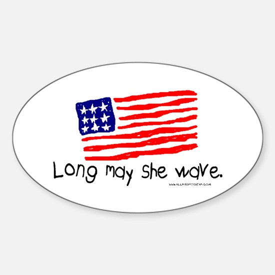 Long May She Wave Oval Decal