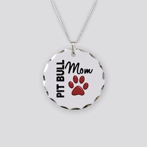 Pit Bull Mom 2 Necklace Circle Charm