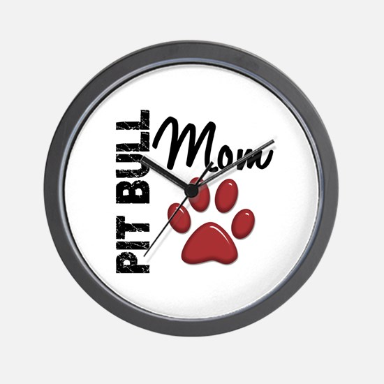 Pit Bull Mom 2 Wall Clock
